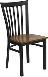 10 Pack Black School House Metal Restaurant Chair With Cherry Wood Seat