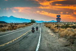101205 Two Bikers Riding Into Sunset On Route 66 Decor Laminated Poster Ca