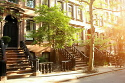 103772 Rows Of Beautiful Brownstones In New York City Decor Laminated Poster Ca