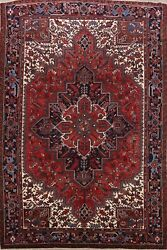 Excellent Vintage Red Heriz Area Rug Oriental Traditional Hand-knotted Wool 8x11