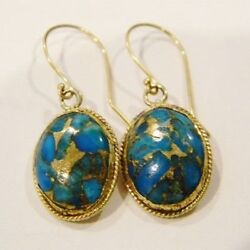 22k Solid Yellow Gold Blue Turquoise Hand Made Earrings Vintage Collectible