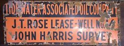 Tidewater Associated Oil Company Vintage Porcelain Lease Well Sign
