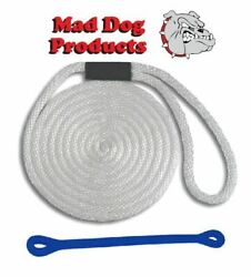 Mad Dog White Solid Braid Nylon Dock Line W/ Blue Snubber - 5/8 X 25and039 Dock Line