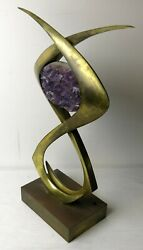 Vintage Willy Daro Brass And Amethyst Table Lamp . Base Only