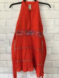 Free People Boho Blouse Sz4 Embroidery Asian Knotted Button Very Cute! $16.99