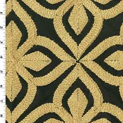Black Beige Floral Embroidered Woven Home Decorating Fabric Fabric By The Yard