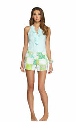 Lilly Pulitzer resort white pink & green Lioness Patch print Callahan shorts 10