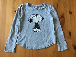 Snoopy Joe Cool Girls T Shirt Size 6 7 Long Sleeve Gray GAP Peanuts $7.50