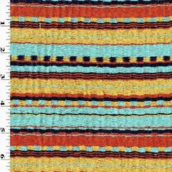 Teal Sunset Multi Tribal Stripe Woven Decorating Fabric Fabric By The Yard