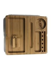 Raw Rolling Papers Wooden Bamboo Backflip Magnetic Rolling Tray / Stash Box Nib