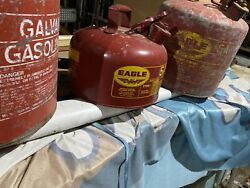 Lot Of 3 Vintage Eagle Metal Safety Gas Cans Red 5 Gallon 2 Gallon Galvanized