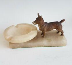 Austrian Cold Painted Bronze Of A Dog With Alabaster Pin Tray