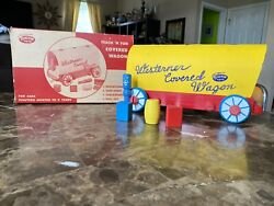 Vintage 1950's Western Covered Wagon American Toy And All Wood Teach N Fun Toys