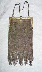 Antique French Cut Steel Beaded Bag Circa 1900-1910 $195.00
