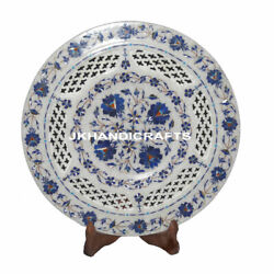 12 Marble Serving Plate Marquetry Lapis Lazuli Filigree Inlay Work Home Decor