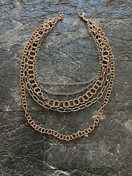 Fosil Multistrand Chain Necklace Rosegold Silver Plated