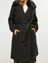 Lane Bryant Deep Black Double Breasted Coat Optional Faux Fur Collar Size 14/16