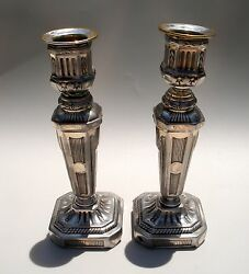 Antique Impressive Silver Plated Brass Neo Classic Candle Sticks Holders