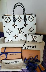 Louis Vuitton Onthego Jungle Giant Monogram Bag Sold with Matching Zippy Wallet.