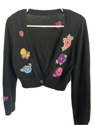 Black Wool Cardigan Embroidered Short One Button Cute Flower Butterfly Vintage $20.00