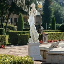 Greek Goddess Thalia Muse Of The Garden 69.5 Sculpture With Plinth Assembly