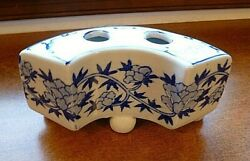 Vintage Handpainted Japanese China Footed Two-holed Inkwell Or Flower Frog