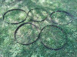 Lot B Five Antique Iron Barrel Stays Rings Hoops Nice Patina
