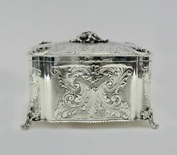 Fine Italy 925 Sterling Silver Handmade Chased Floral Leaf Jewelry Esrog Box
