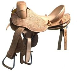 Western Natural Leather Hand Tooled Strip Down Bronc Saddle 12 13,14 15 16