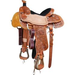 Western Leather Hand Carved And Tooled Roper Ranch Saddle With Suede Seat 17