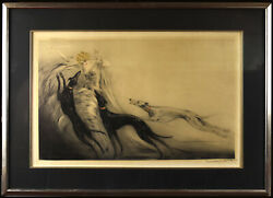 Louis Icart French Art Deco Etching Coursing Ii Blond W/ 3 Greyhounds Dogs 1929