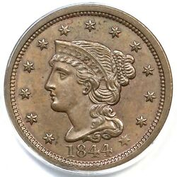 1844 N-1 Pcgs Ms 63 Bn Cac Braided Hair Large Cent Coin 1c