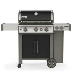 Weber Propane Gas Grill 3-burner Stainless Steel Thermometer 4-wheels Black