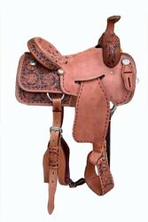 Western Brown Leather Strip Down Roper Ranch Saddle With Buck stitch 15