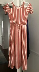 Girls Striped Maxi Dress Sz 10 Nwot
