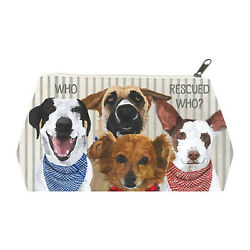 Paperproducts Design Who Rescued Who? Rescue Dogs Cotton Cosmetic Bag Large $14.95