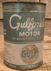 Vintage Nos Gas Service Station 1 Qt Gulf Pride Motor Oil Tin Can Car Graphic