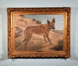 Antique Oil On Canvas Painting Of A Dog By Jef Van Leemputten With Gilt Frame