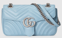Gucci Marmont Small Pastel Blue Leather Matelasse Chain Shoulder Crossbody Bag
