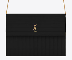 Saint Laurent YSL Victoire Chain Monogram Black Crinkled Leather Crossbody Bag
