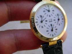 Very Rare 1990s Alfred Dunhill 4 Time Zones 18k Gold.