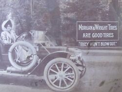 1910 Advertising Morgan And Wright Tires , Lady Driving In Car Postcard