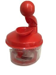 New Tupperware Power Chef System Chili Red Food Processor / Chopper Never Used
