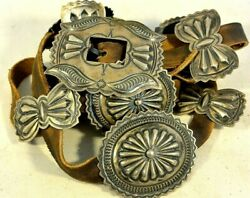 Large 10 Ozt Harry Morgan Signed Heavy Navajo Concho Belt Buckle Sterling Silver