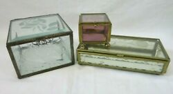 Vtg 3 Glass Metal Frame Trinket Boxes Hinged Lids Etched Lace Floral Swan Mexico