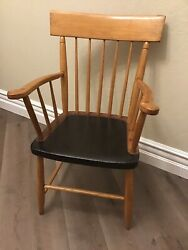 American Antique 19th Century Spindle Back Arm Chair Pine Original Seat Wood