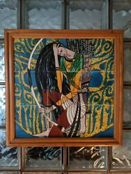 Ting Shao Kuang Eyes Of Prey Vintage Hand Painted Tile Art- Deco Nouveau Woman