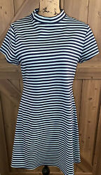 Free People FP Beach On the Line Dress Womens Blue Striped Stretch Large $14.00