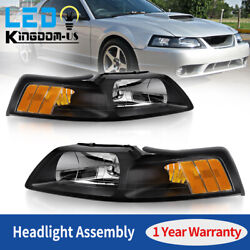 Black Housing Headlights For 1999-2004 Ford Mustang 99-04 Replacement Lamps Pair