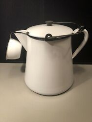 Vintage Very Large Black And White Enamel Cowboy Camp Coffee Pot W Matching Cup